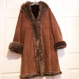 Wilsons  Brown Leather faux fur lined coat size L
